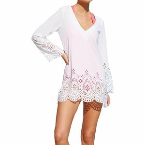 Kenneth Cole Reaction Scalloped Away Laser tunic